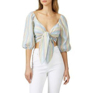 NEW Moon River Tie Front Balloon Sleeve Top Size L